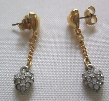 AVON VTG*DROP DANGLE HEART W/RHINESTONE PIERCED EARRINGS W/SURGICAL POSTS*NEW