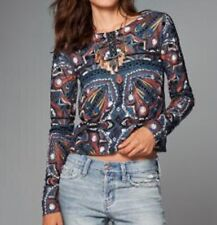 New limited edition A&F Abercrombie $ Fitch embroidered top blouse women's M $98