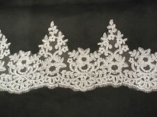Light Ivory Eyelash style Floral Bridal Wedding lace trim sold by Per Yard