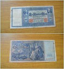 BANCONOTA GERMANIA REICHSBANKNOTE 100 MARK 1909 BERLIN SUBALPINA