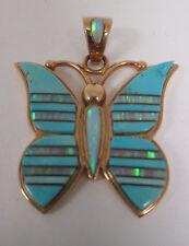 Estate Jewelry 14k Yellow Gold Aqua Enameled Butterfly Pendant