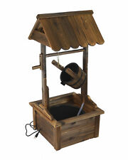 Water Fountains Outdoor Wishing Well Wood Patio Fountain with Pump