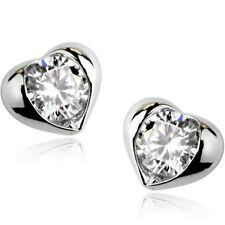 White Gold Finish Clear Cubic Zirconia Heart Stud Earrings Quality UK Jewellery