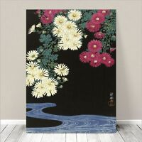 "Beautiful Japanese Floral Art ~ CANVAS PRINT 8x10"" Chrysanthemums water Koson"