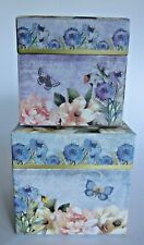 PUNCH STUDIO Set of TWO Birds with Floral Nesting Boxes~NEW~Free Shipping