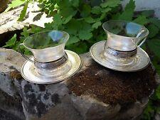 Paire de tasses complète à Thé en métal argenté décoré