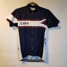 Capo Mens Size S Biking Cycling Jersey Shirt Top Full-Zip Back Pocket Blue White