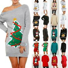 Ladies Womens Elf Costume Christmas Star Belted Xmas Jumper Knitted Mini Dress