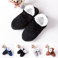 Men Round Toe Slip On Flat Fluffy Slippers Winter Warm Soft Bedroom Home Sandals