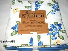 3 Blueberry Flour Sack Dish Towels  100% Cotton 26x26 Kay Dee Designs   NEW