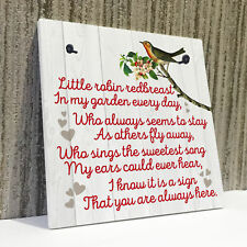 Robin Redbreast Memorial Bereavement Family Love Hanging Plaque Grave Gift Sign