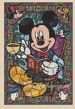 DISNEY cross stitch chart Mickey Mouse Tea Time Vetro Colorato 359 Flowerpower 37