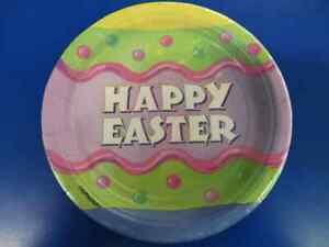 """Happy Easter Egg Polka Dot Pastel Spring Holiday Party 7"""" Paper Dessert Plates"""