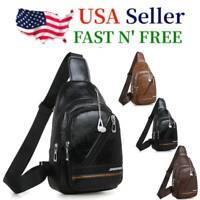 Mens Sling Chest Pack Leather Shoulder PU Bag Sports Crossbody Handbag Travel US