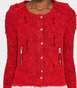IRO AGNETTE JACKET COAT TOP : DISTRESSED LOOK : VIBRANT RED : SIZE 1 XS