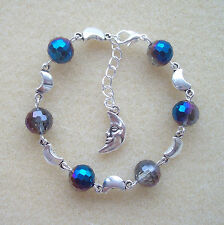 Beautiful Peacock Blue Crystal Bead Celestial Moon Charm Bracelet in Gift Bag