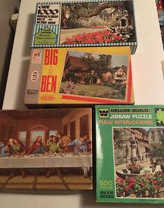 Lot 4 Complete Vintage Puzzles 500-1000 Pieces, Whitman,MB, Built Rite
