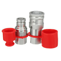"""3/8"""" Flat Face Hydraulic Quick Connect Coupler / Coupling Set 3/8"""" NPT Thread !"""