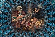 """Skeleton Tapestry """"Eternal Love""""Wall Hanging by Artist Dan Morris 44""""x66"""" Guitar"""