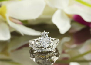 Heart Claddagh Ring, 1 CT Heart Cut Diamond Engagement Ring Set, Proposal Ring,