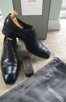 Tom Ford Mens Black Leather Lace Up Oxford Brogue Shoes Size UK 9.5 US 10.5 T