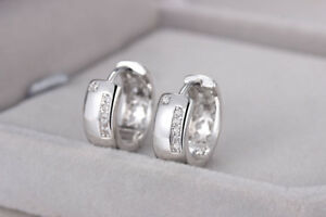 Shiny 925 Sterling Silver PL Small Hoop Circle Huggie Cubic Zirconia CZ Earrings