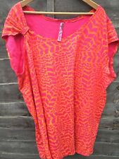 Evans Pretty Size 30 / 32 Pink Orange Patterned Plus Size Summer Top Cap Sleeve