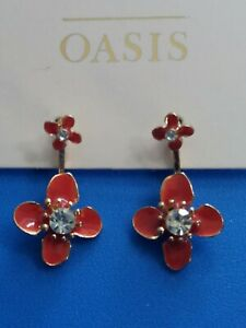 OASIS Red Flower Back & Front Earrings