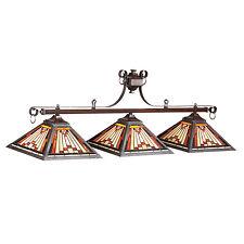 "Laredo Pool Billiard 54"" Light Tiffany Style Glass Rustic Iron Finish 25-B54"