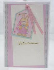 Carte Félicitations Naissance.Fille. Rose.lapin rose.17 cm x 11,5 cm.