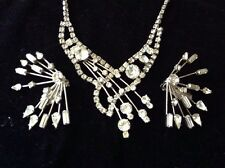 UNIQUE RARE VINTAGE RHINESTONE SET NECKLACE EARRINGS SILVER PEACOCK STYLE