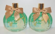 2 BATH BODY WORKS VANILLA BEAN NOEL SNOW GLOBE BUBBLE BATH WASH SHOWER GEL 10 OZ