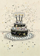 Birthday Cake Gold Foil Embossed Blank Card by Bug Art