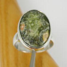 18x14mm Oval Rainforest Jasper Gemstone Bezel Ring Genuine 925 Sterling Silver