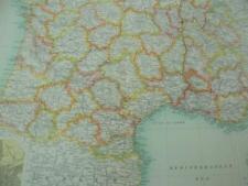 MAP c1900 FRANCE SOUTH BARTHOLOMEW ATLAS COLOUR LITHOGRAPH