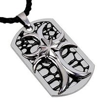 Stainless Steel Cross Dog Tags Pendant Necklace