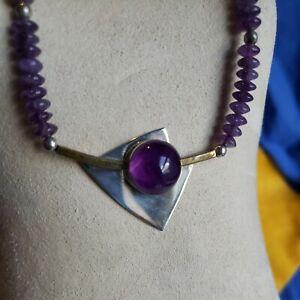 """Vtg Signed Modernist AJV Sterling Silver Cabachon Amethyst bead Necklace 18"""""""