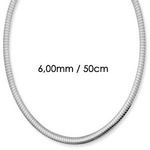 6,00mm Omegareif Halsreif Omegakette flach 750 Weißgold 50cm Damen Collier