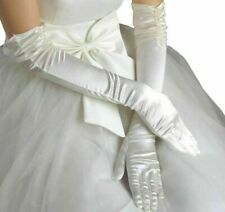 Long Bridal Wedding Gloves Beaded Satin One Size Elbow Polyester Multi Color New