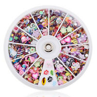 1200pcs Wheel Mixed 3D Nail Art Tips Glitters Rhinestones Slice DIY Decoration