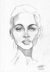 original drawing A4 20ShX art modern Graphite modern female portrait 2021