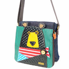Black Bear American Pride Messenger Bag Purse Chala Leather Accents