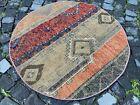 Circle Patchwork Area Rug Vintage rug, Handmade rug, Wool | 3,2 ft