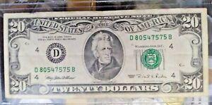1995 $20 TWENTY DOLLARS VINTAGE FEDERAL RESERVE NOTE (D)