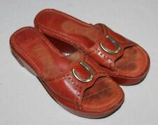 Ariat Wedge Sandals Red Size 8B Horseshoe Leather Casey Slip On Womens Lucky