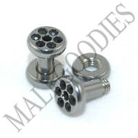 0571 Surgical Steel Screw-on/fit Black CZ Flesh Tunnels 8 Gauge 8G Plugs 3.2mm