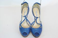 Oscar DeLarenta Shoes Heels Snakeskin Blue Leather Size 40/10