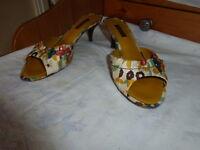 """LOUIS VUITTON open toe mules $950 SIZE 37 US 7 HEELS 9.5"""" Long floral canvas"""