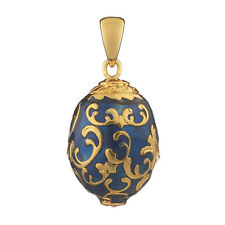 Faberge Egg Pendant / Charm with crystals 2 cm blue #2-1502-11