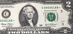 (FOUR DIGIT) STAR NOTE* $2 2003 (00006188*) Low Serial Number ,UNCIRCULATED